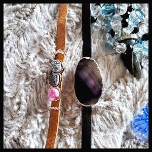 Blue Agate Vegan Leather Bracelet w/ Black Band